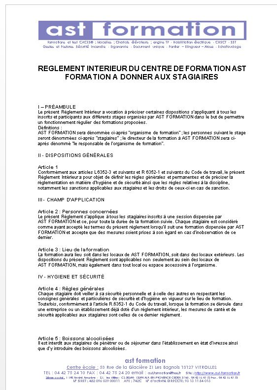 REGLEMENT INTERIEUR STAGIAIRES AST FORMATION - Formation